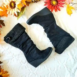 Aldo Knee High Suede Wedge Boots